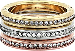 Michael Kors - Tri-Tone and Pave Logo Grommet Stack Ring Set