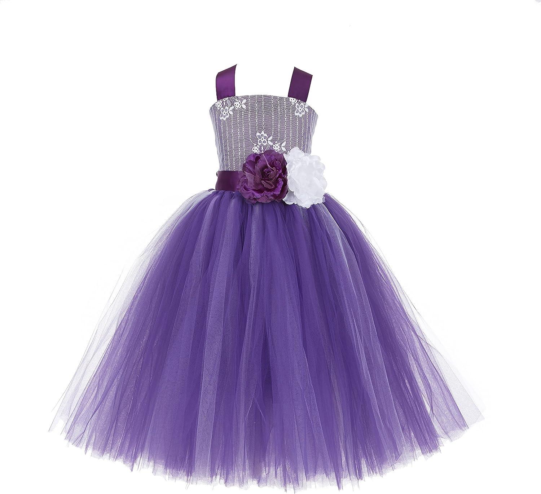 Tutu Criss-Cross Back Lace Formal Flower Girl Dresses Graduation Dresses 119F
