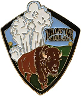 L W Bristol Classics Yellowstone National Park - Buffalo & Geyser - Hiking Stick Medallion