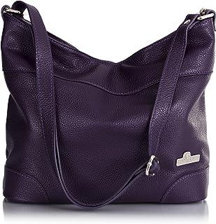 LiaTalia - Jane - Borsa a spalla vera pelle italiana di alta qualità, borsa elegante grande capacità - Viola Scuro
