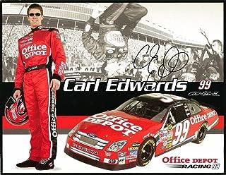 2006 Carl Edwards OFFICE DEPOT NASCAR RACING Signed Auto 8.5x11 Postcard - NASCAR Cut Signatures