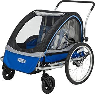 InStep Rocket Single Seat and Double Seat Foldable Tow Behind Bike Trailers, Converts to Stroller/Jogger, Featuring 2-in-1 Canopy and 20-Inch Wheels, for Kids and Children
