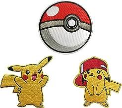 Pokemon GO Pokeball Pikachu Patch Iron on Embroidered Applique Cartoon Comic Collection 3 pcs