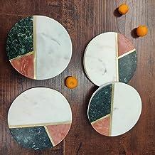 GAURI KOHLI Green Orange White Marble Coasters with Gold Inlay (Large Size | Set of 4)