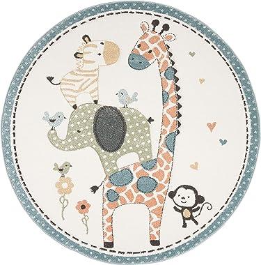 "Safavieh Carousel Kids Collection CRK120A Animal Nursery Playroom Area Rug, 5'3"" x 5'3"" Round, Ivory"