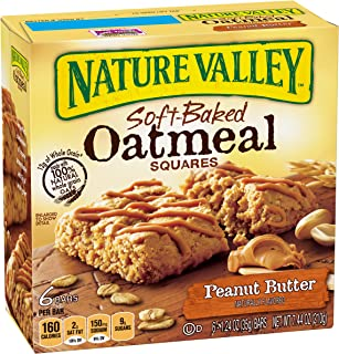 Nature Valley Soft Baked Oatmeal Squares, Peanut Butter, 6 Count in single box