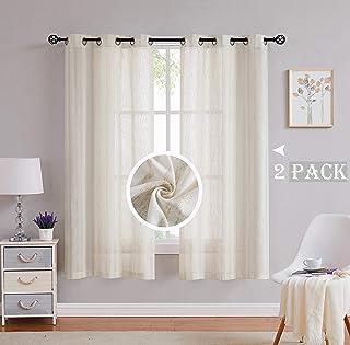 Randall Linen Stripe Curtain Panel Natural Linen Blend Window Curtains Grommets Top Semi Sheer Soft Heavy Rustic Farmhouse...