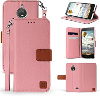 Moto E4 Case, Mstechcorp [Wrist Strap] Luxury PU Leather Wallet Flip Protective Case Cover with Card Slots & Stand For Motorola Moto E (4th Generation) (Rose Gold Brown)