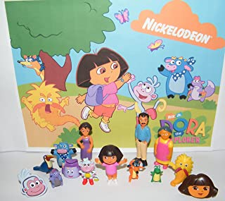 Dora The Explorer and Friends Deluxe Party Favors Goody Bag Fillers Set of 14 with 12 Figures and 2 ToyRings Featuring Dora, Boots, Backpack, Grandma, Mom and More!