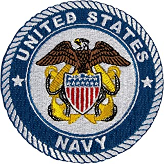United States Navy Patch Embroidered Appliqué Patch Sew or Iron On Blazer Jacket Bag US Navy (Patch - 3 Inch Double Anchor)