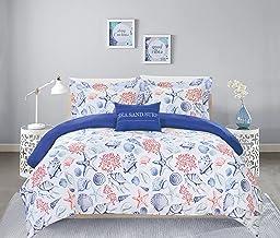 "Chic Home Talulah 4 Piece Reversible Duvet Cover Set""SeaSandSurf"" Theme Print Design Bedding - Decorative Pillow Shams Inc..."
