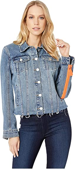 Denim Jacket with Orange Zipper Sleeves in Sliding Doors
