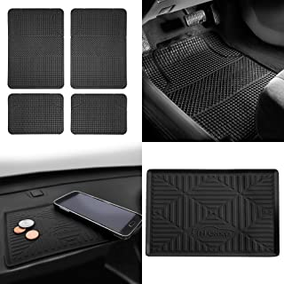 FH Group F11300 Anti-Slip Modern Checker Style All Weather Auto Floor Mats + FH3011 Silicone Anti-Slip Dash Mat, Black-Fit Most Car, Truck, SUV, or Van
