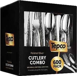600 Plastic Silverware Set - Silver Plastic Cutlery Set - Disposable Silverware Set - Flatware Set - 200 Plastic Silver Fo...