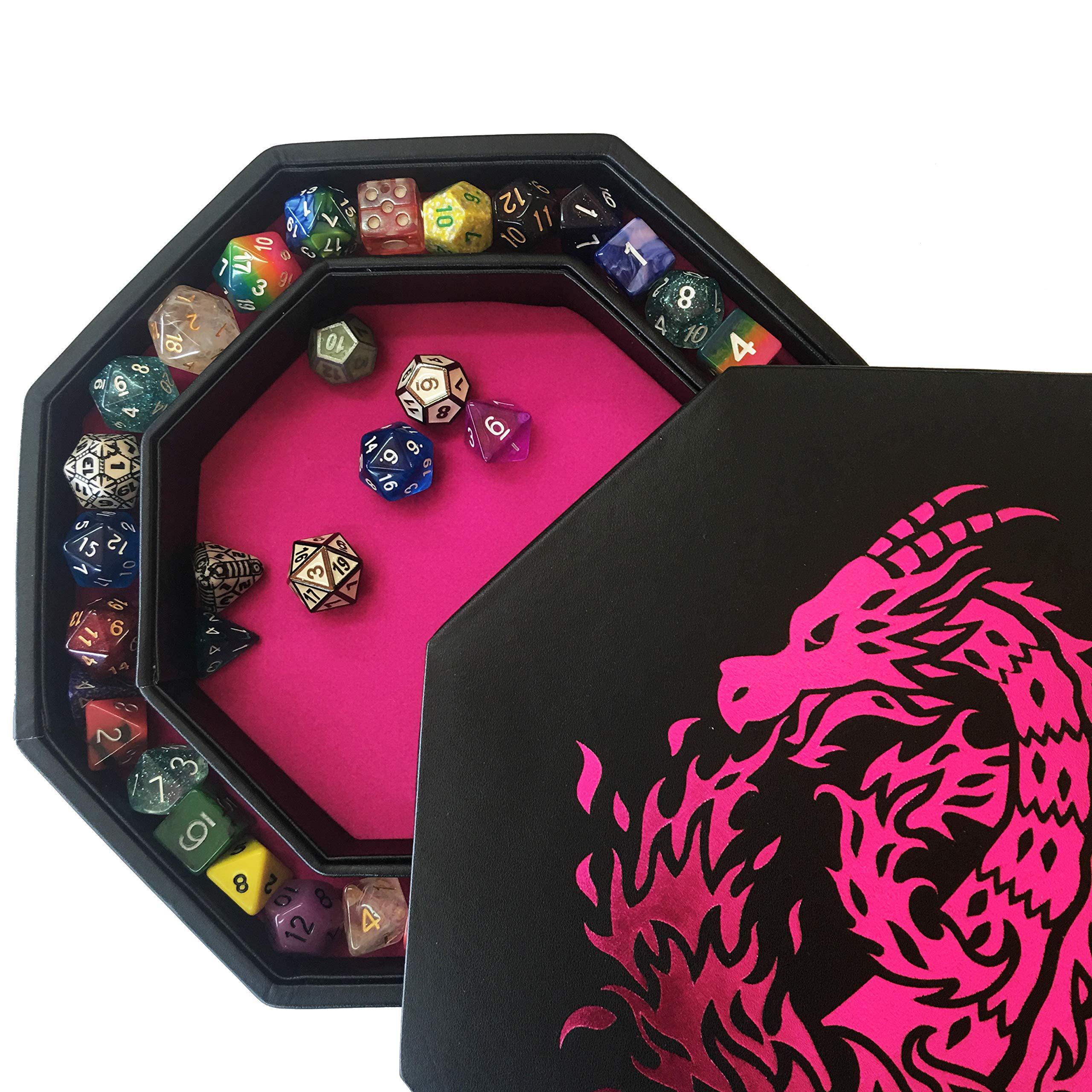 Fantasydice – Rosa – Fire Dragon – Bandeja de dados – 8 pulgadas octágono con tapa y dados – Capacidad para