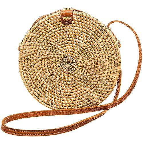 Womens Crossbody Brown Fashion Purse | Rattan Straw Bag | Basket Bag | Handmade Small Beach