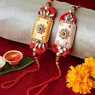 TIED RIBBONS Raksha Bandhan Bracelet Rakhi for Brother - Handmade Rakhi for Brother (Set of 2 Rakhi with Wishes Card)