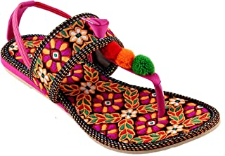SHREE OL Women's Synthetic Leather Rajasthani Jaipuri Work Kolhapuri Chappals
