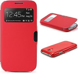 Urcover Funda Compatible con Samsung Galaxy S4 Mini S-View Carcasa con Tapa Libro Cierre magnetico, Billetera Flip Case protección Pantalla con Ventana Wallet Cover - Rojo