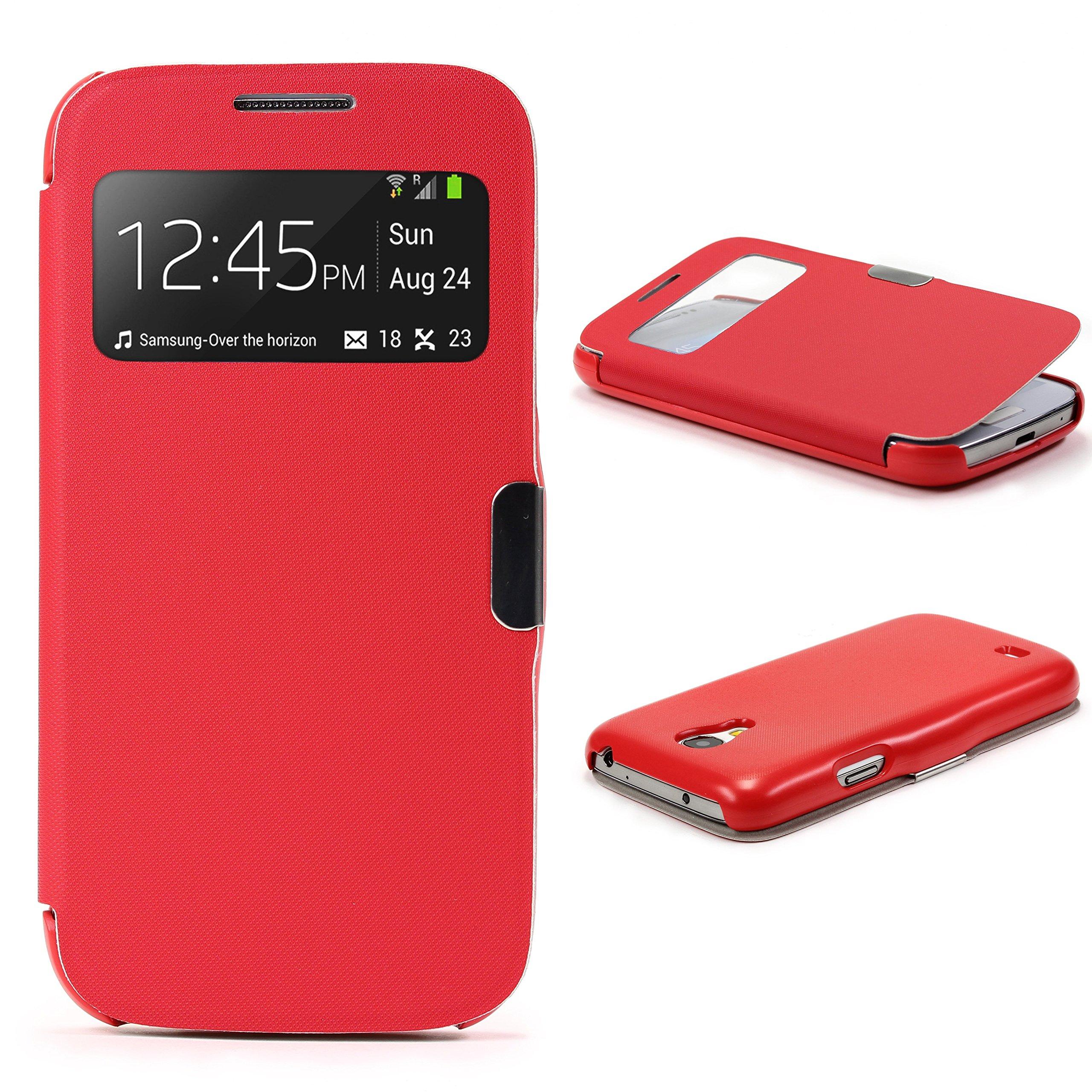 Urcover Funda Compatible con Samsung Galaxy S4 Mini S-View Carcasa con Tapa Libro Cierre magnetico, Billetera Flip Case protección Pantalla con Ventana Wallet Cover - Rojo: Amazon.es: Electrónica
