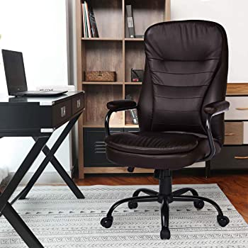 Amazon Com Amolife Big And Tall Office Chair Heavy Duty Executive Computer Chair Adjustable Desk Chair Large Home Office Chair With Armrest 500lbs Capacity Sgs In Brown Office Products