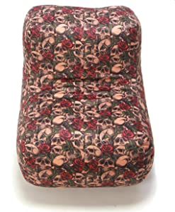 Wow! Works Cool Bean Bag Chair Upholstered L-Shaped Beanbag Lounger, Medium-Sized, Skulls & Roses (Red/Off-White)