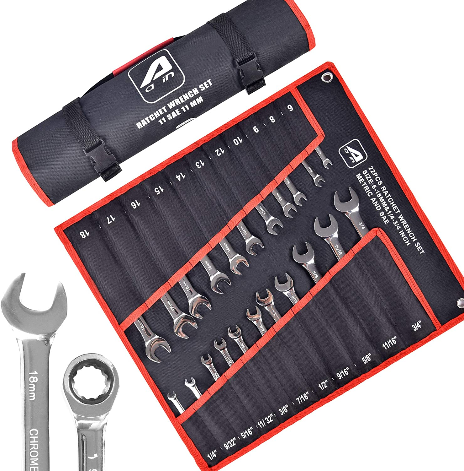 Aain A22PC SEAL limited product Fees free 22-Piece Ratcheting Wrench SAE Metric 12-Point Set