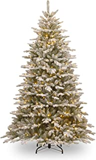 National Tree 7.5 Foot Feel Real Snowy Sierra Spruce Tree with 750 Clear Lights, Hinged (PESIF-300-75)