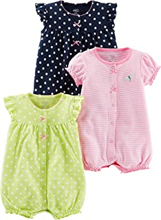 Baby Girls' 3-Pack Snap-up Rompers