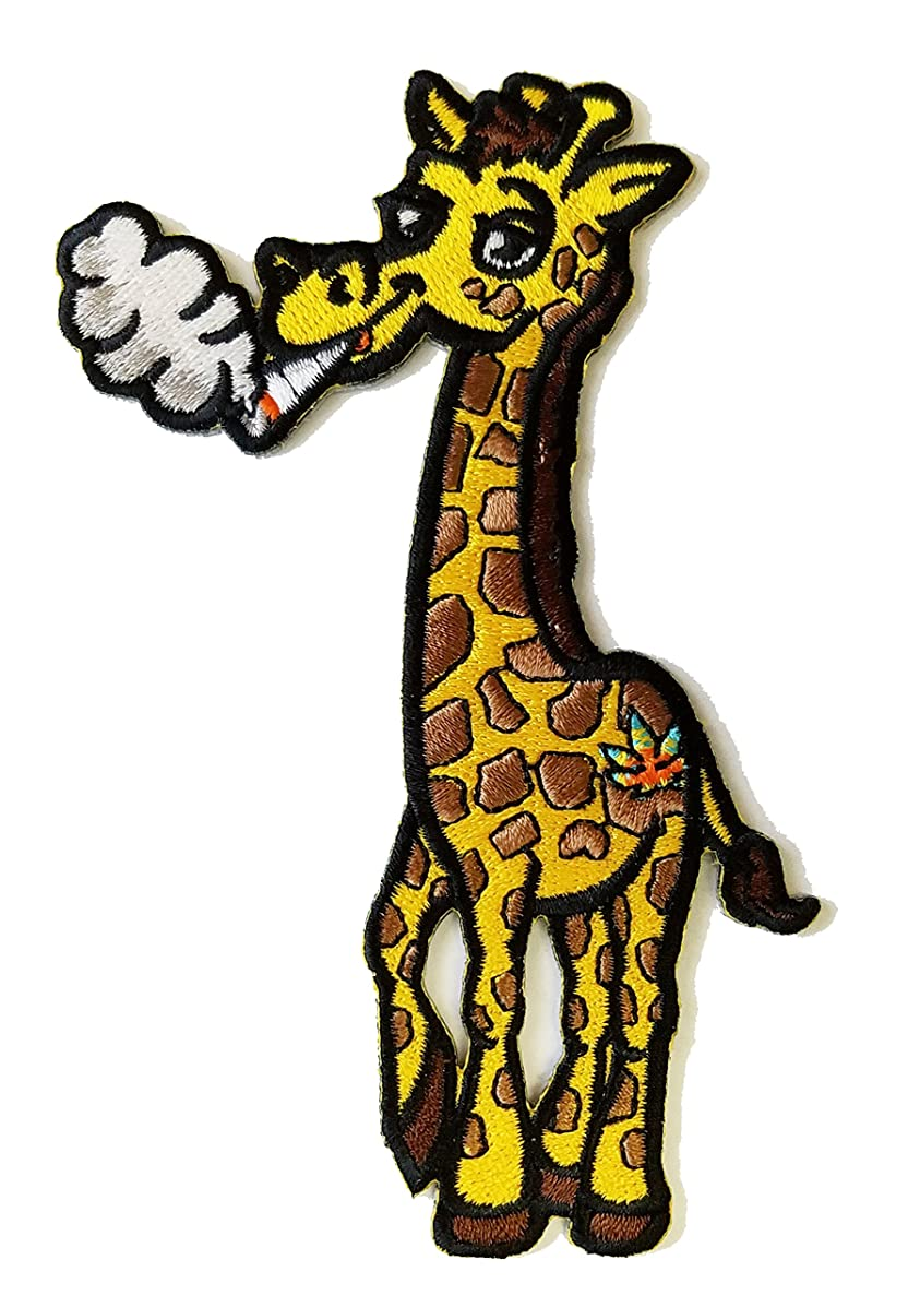 Pot Smoking Pals Funky Giraffe - Iron on Embroidered Patch Applique