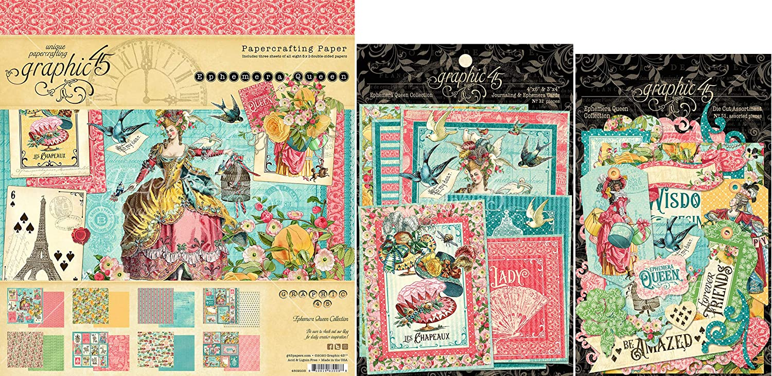 Graphic 45 Ephemera Queen Max 89% OFF - 8x8 Pad Cardstock E Bombing free shipping Die-cuts Paper