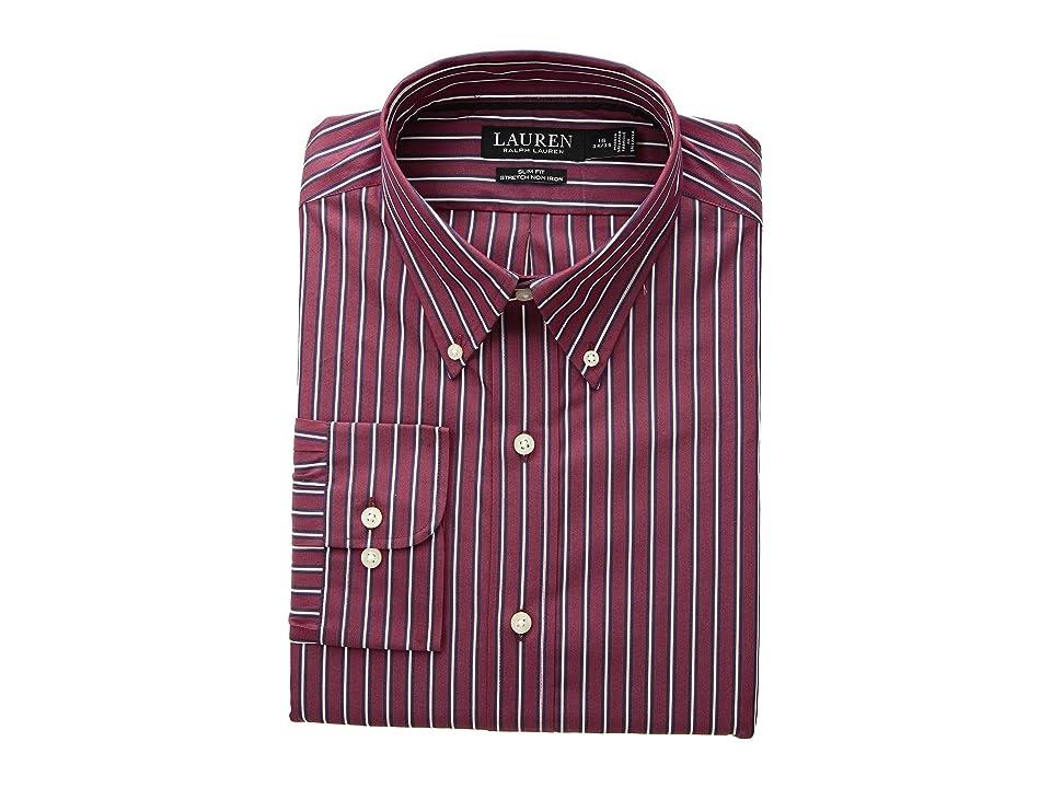 LAUREN Ralph Lauren Slim Fit No-Iron Multi-Stripe Poplin Dress Shirt (Merlot/Navy) Men's Long Sleeve Button Up