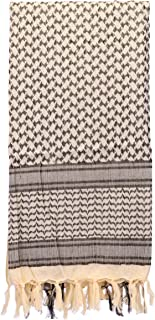 Holly LifePro 100% Head Neck Cotton Shemagh Arab Military Keffiyeh Tactical Desert Scarf Wrap with Tassels for Women and Men