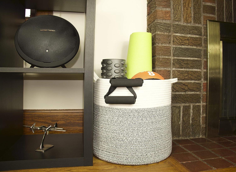 GoGoRooster Extra Large Cotton Rope Basket   Baby Toys Storage   Laundry Basket   Woven Basket (X-Large 15.8