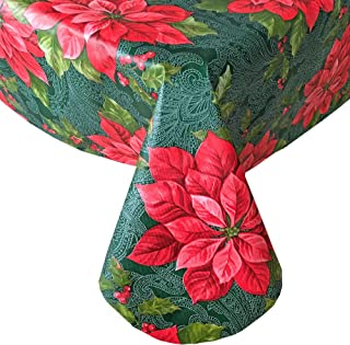 "Newbridge Scarlet Poinsettia Filigree Christmas Vinyl Flannel Backed Tablecloth - Red Poinsettia and Holly Berry Print Wipe Clean Easy Care Kitchen, Dining Room Tablecloth, 60"" x 120"" Oblong/Rectangle"