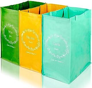 4Human Lot de 3 récipients colorés pour tri sélectif, poubelle pour extérieur/intérieur, déchets plastique, sacs déchets n...