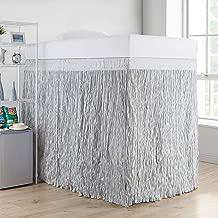 DormCo Crinkle Extended Bed Skirt Twin XL (3 Panel Set) - Glacier Gray