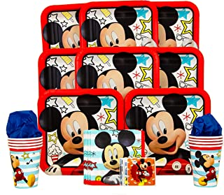 B-THERE Party Pack Bundle of Disney Mickey on The Go Party Supplies - Seats 8: Plates, Napkins, Cups and Stickers!