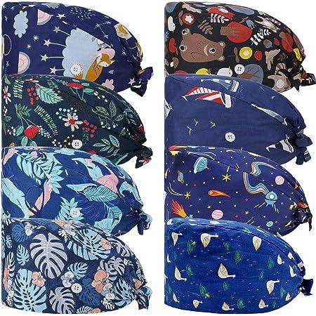 REGNBUE Cappelli Scrub con Bottoni Cappelli Stampati Colorati Annodato Indietro Cappelli da Lavoro Unisex con Fascia Sudore per Adatto per Uomini e Donne