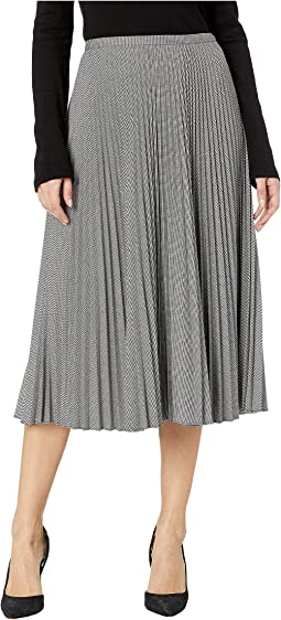 Pleated Twill A-Line Skirt