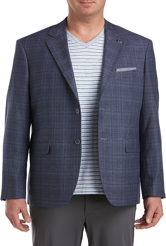 Oak Hill by DXL Big and Tall Jacket-Relaxer Windowpane Sport Coat, Blue