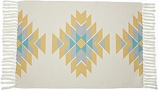 Southwestern Aztec Boho Throw Rug with Fringe 2x3 - Mexican Navajo Tassel Bohemian Bathroom mat