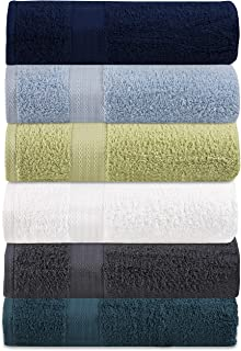 GLAMBURG Premium Cotton 6 Pack Bath Towel Set - 100% Pure Cotton - Multicolor Pack - 6 Bath Towels 27x54 - Ideal for Everyday use - Ultra Soft & Highly Absorbent