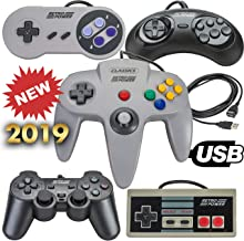 New 2019: 5 USB Classic Controllers - NES, SNES, Sega Genesis, N64, Playstation 2 (PS2) for RetroPie, PC, HyperSpin, MAME, Emulator, Raspberry Pi Gamepad (Renewed)