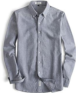 MUSE FATH Men's Oxford Dress Shirt-Cotton Casual Regular Fit Long Sleeve Shirt