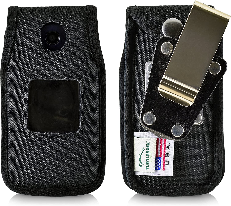 Turtleback Fitted Case Made for Alcatel Go Flip, Flip V, ATT Cingular FLIP2 and T-Mobile 4044W, MYFLIP (A405DL) Flip Phone Black Nylon Heavy Duty Rotating Removable Metal Belt Clip Made in USA