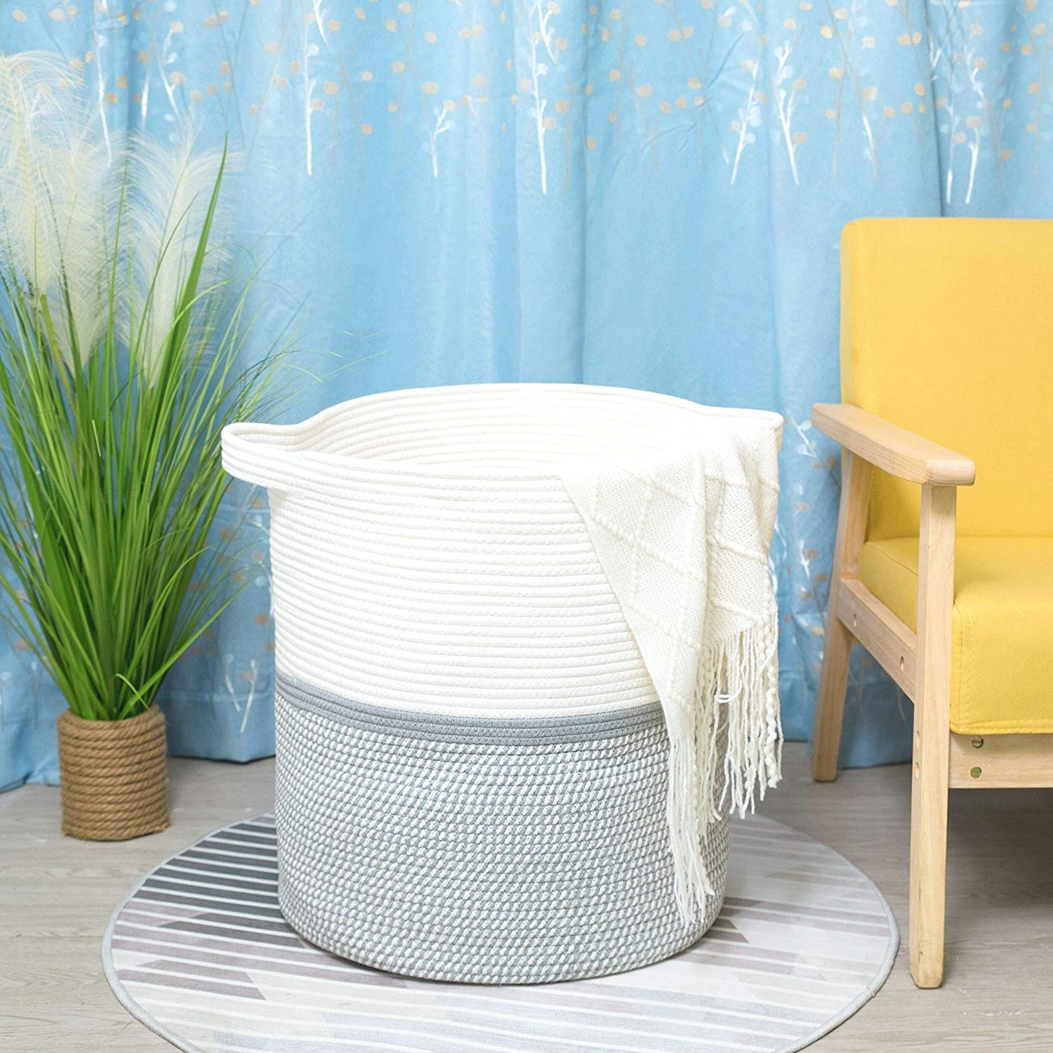 MINTWOOD Design Extra Large 20 x 18 Inches Decorative Woven Cotton Rope Basket, Tall Laundry Basket Hamper, Blanket Basket for Living Room, Round Storage Baskets for Pillows, Towels, Light Grey Mix