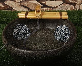 Bamboo Water Fountain Medium 12 Inch Three Arm Style with Pump, Indoor or Outdoor Zen Garden Decor Fountain, Natural, Spli...