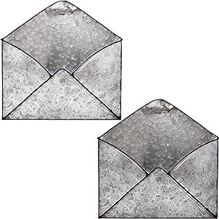 Galvanized Mail Organizer Wall Mount Metal Envelope Holder Set of 2 Hanging Letter Basket Home and Office Decor Tin Rustic Vintage Decorative Style Envelope Magazine Sorter Pocket File