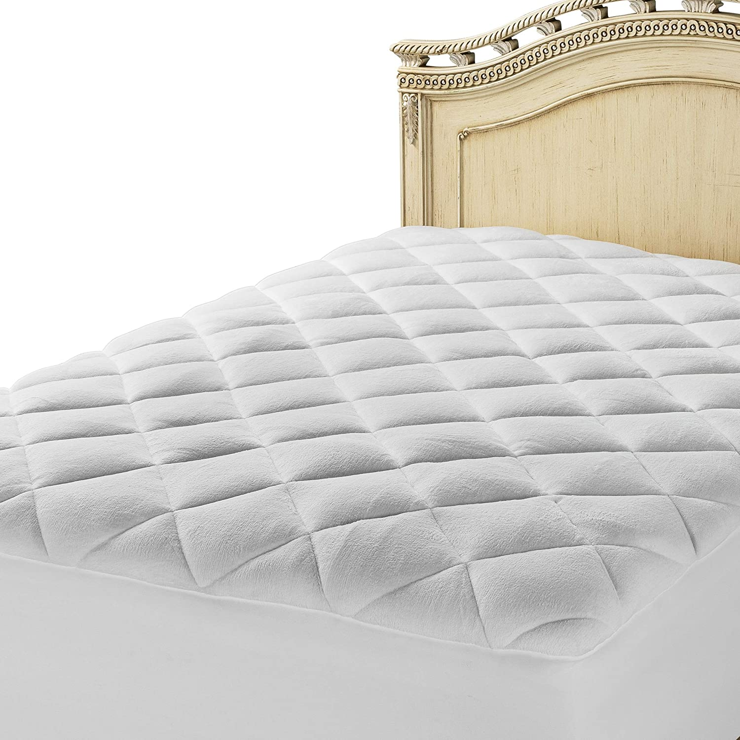 MASTERTEX Sleep Soft & Dream Sweet on Royal Comforts, New Double Puff Mattress Pad with Enriched, Extra-Plush Fiberfill, Topped with Pure, White Imported Fleece - Two Layers, Twin (39  x 75 )
